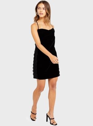 Miss Selfridge PETITE Black Velvet Lace Slip Dress