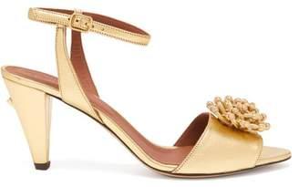 Osman Mae Flower Applique Metallic Leather Sandals - Womens - Gold