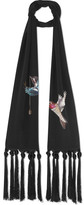 Alexander McQueen Printed Silk Scarf - Black