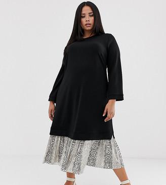 Asos DESIGN Curve midi 2 in 1 sweat dress with pleated snake print hem
