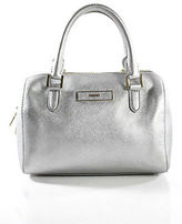 DKNY Silver Coated Canvas Gold Tone Metal Accents Satchel