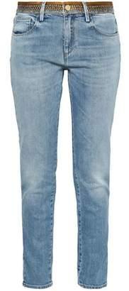 Roberto Cavalli Satin-trimmed High-rise Slim-leg Jeans