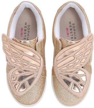 Sophia Webster Butterfly Glittered Leather Sneakers