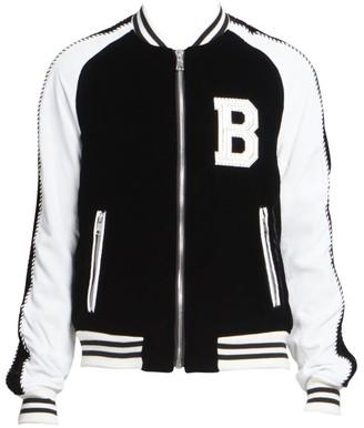Balmain Colorblock Velvet Bomber Jacket