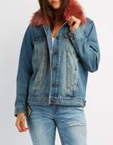 Charlotte Russe Refuge Faux Fur-Trim Denim Jacket