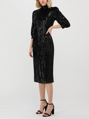 Monsoon Kalila Sequin Dress, Black