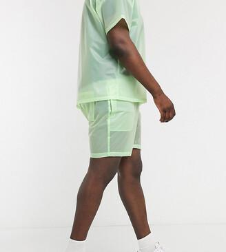 ASOS DESIGN Plus co-ord shorts in sheer green