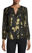 Joie Vashti Metallic-Leaf Split-Neck Blouse, Caviar
