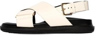 Marni 30mm Crisscross Leather Flat Sandals