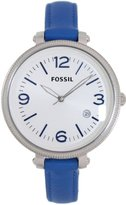 Fossil Women's ES3279 Heather Blue/White Leather Watch