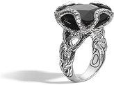 John Hardy Classic Chain Braided Black Chalcedony & Diamond Ring, Size 7