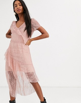 Stradivarius lace dress in pink
