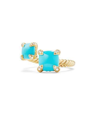 David Yurman Châtelaine 18K Gold Bypass Ring with Turquoise & Diamonds, Size 7