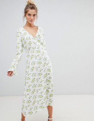 Asos Design DESIGN wrap maxi dress with long sleeves in ditsy floral-Multi