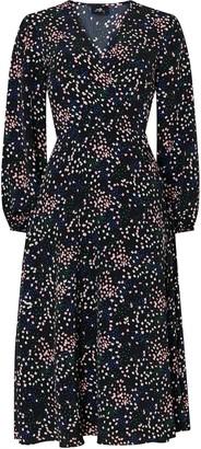 Wallis **TALL Black Confetti Print Midi Wrap Dress