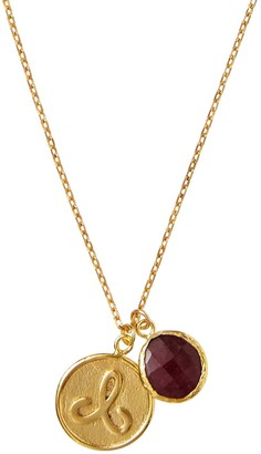 Ottoman Hands Aries Zodiac Necklace With Ruby Charm
