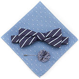 Original Penguin Striped Bow Tie, Dotted Pocket Square, & Striped Lapel Pin 3-Piece Set
