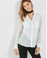 Express slim fit chiffon block portofino shirt