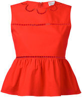 RED Valentino open embroidery peplum top - women - Cotton/Polyester - 40
