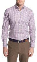 Peter Millar Check Long-Sleeve Sport Shirt, Purple