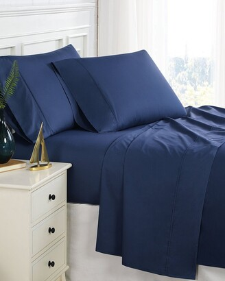 South Shore Furniture Southshore Fine Linens 200Tc Navy Percale Extra Deep Pocket Sheet Set