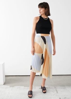 And other stories Printed Plisse Midi Skirt