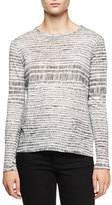 Proenza Schouler Long-Sleeve Jewel-Neck T-Shirt, White/Black Etch