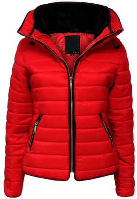 Juicy Trendz Womens Quilted Padded Puffer jacket Ladies Lightweight Fitted Collar warm Coat