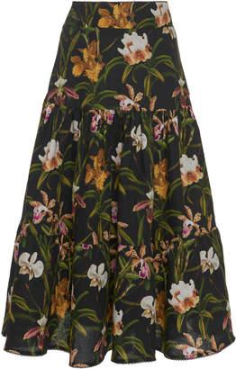 Agua Bendita Agua By Anis Flora Midi Skirt