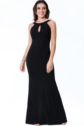 Goddiva Black Halter Open Back Frill Detail Maxi Dress
