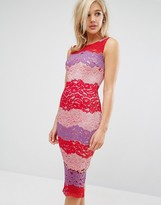 Paper Dolls Pencil Dress In Color Block Lace
