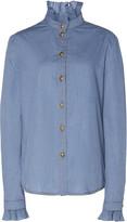 Philosophy di Lorenzo Serafini Ruffled Cotton-Chambray Shirt