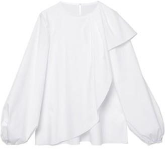Carolina Herrera Puff-Sleeve Cascade Poplin Blouse