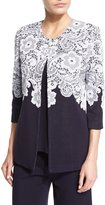 Misook 3/4-Sleeve Lace-Print Jacket, Navy/White, Petite