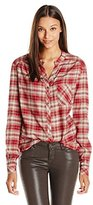 Three Dots Women's Long Sleeve Blouse w/ Pocket Brick Stone Button-up Shirt