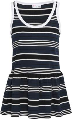RED Valentino Striped Cotton-jersey Peplum Top