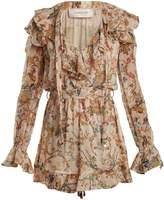 Zimmermann Painted Heart Cascade floral-print silk playsuit