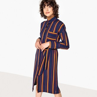 La Redoute Collections Striped Tie-Waist Midi Shirt Dress