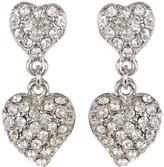 Carolee Double Heart Pave Drop Earrings