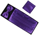 OULII Men Pre-tied Bow Tie Cummerbund Silk Pocket Square Handkerchief Set Adjustable