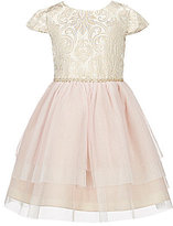 Rare Editions Little Girls 2T-6X Metallic-Brocade/Mesh A-Line Dress