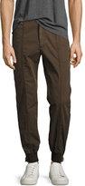 Juun.J Juun J Jogger Pants with Full-Length Side Zips, Olive/Khaki