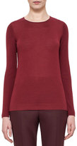 Akris Long-Sleeve Jewel-Neck Pullover, Miracle Berry