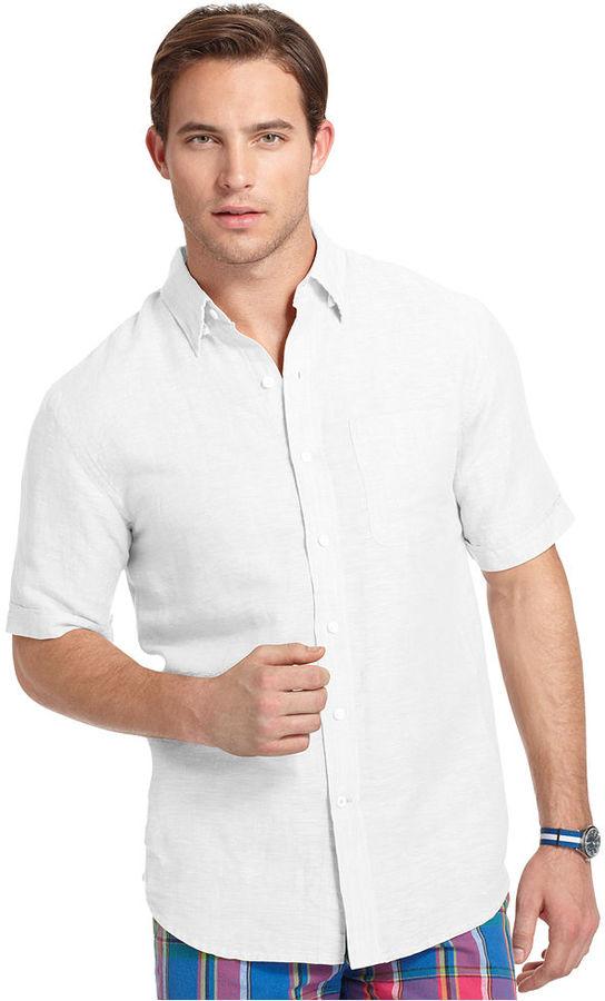 Izod Shirt, Short-Sleeve Linen Cotton Solid Shirt