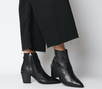 Office Anais Pointed Western Boots Black Leather