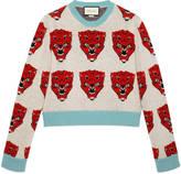 Gucci Tiger jacquard wool knit sweater