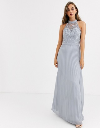 Chi Chi London lace detail maxi dress with pleated skirt in gray