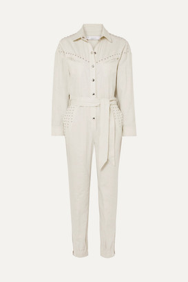 IRO Belted Embellished Linen And Cotton-blend Jumpsuit - Ecru