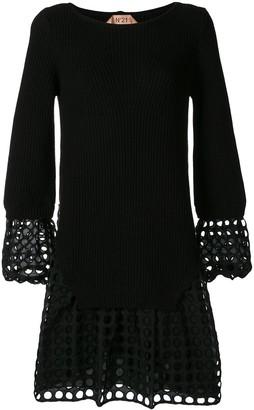 No.21 laser cut sweater dress
