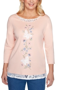 Alfred Dunner Petite Pearls Of Wisdom 2019 Lace-Trim Embroidered Top